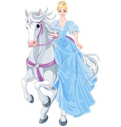princess is riding a horse vector image