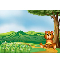A bear above the hills vector image vector image