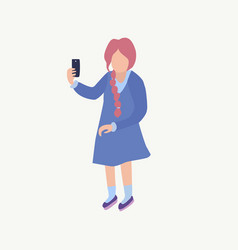a girl makes selfie cute young girl vector image