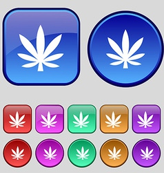 Cannabis leaf icon sign a set of twelve vintage vector