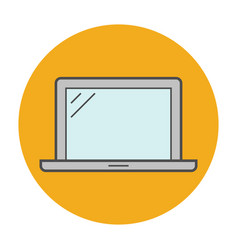 laptop flat line icon vector image vector image
