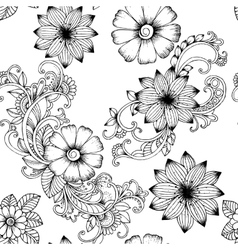 Seamless floral pattern in black and white vector image vector image