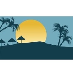 Silhouette of umbrella lined in seaside vector image vector image
