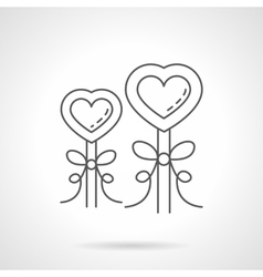 Valentines Day candies flat line icon vector image