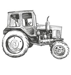 Farm tractor hand drawn vector