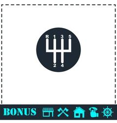 Gear shifter icon flat vector