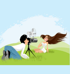 photo shoot on nature vector image