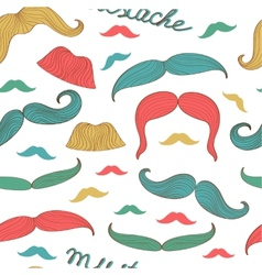 Seamless mustache pattern vector image vector image