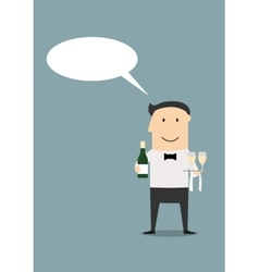 Waiter with champagne and wine glasses vector image