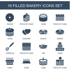 16 bakery icons vector