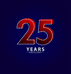 25 years excellent anniversary celebration red vector