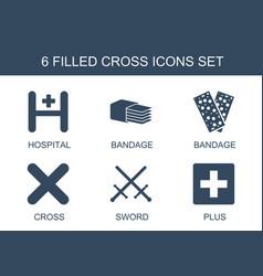 6 cross icons vector