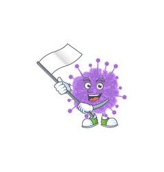 A patriotic coronavirus influenza holding a flag vector