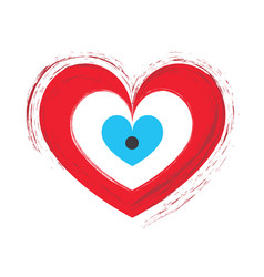 Artistic red heart with evil eye vector