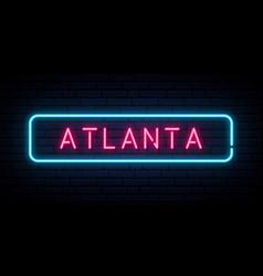 Atlanta neon sign bright light signboard banner vector