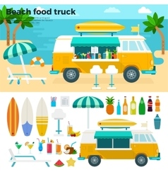 Beach food truck with cold beverages vector