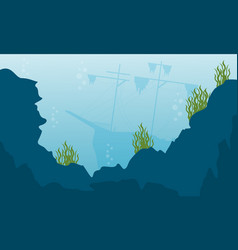 Beauty landcape of underwater flat vector