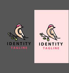 Bird logo abstract lineart outline design vector