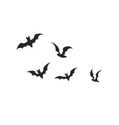 black silhouette bats halloween party vector image