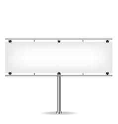 Blank metal billboard on white background vector