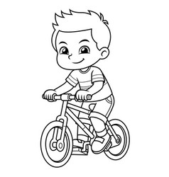 boy riding new red bicycle bw vector image