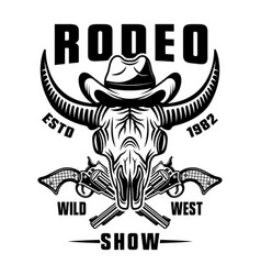 Buffalo skull in cowboy hat and crossed guns vector