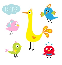 Cartoon bird set cute character funny vector