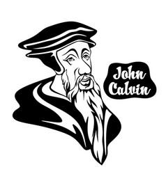 Cartoon on john calvin vector