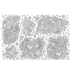 Cartoon set of Winter season doodles designs vector image