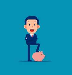 character pose with piggy bank safe money storage vector image