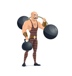 Circus strong muscle man with dumbbells vector