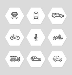 City transportation line icons set - cars train vector