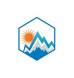 clean mountain and sun logo vector image