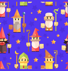 cnomes and dwarves seamless pattern fantasy game vector image