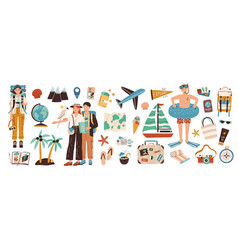 collection adventure tourism travel abroad vector image