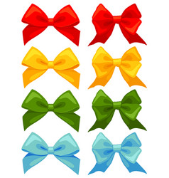 colorful cartoon multicolor bow set vector image