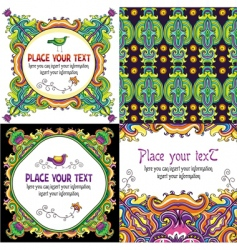 colorful floral cards set vector image