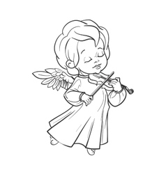 Cute baby angel making music playing violin vector