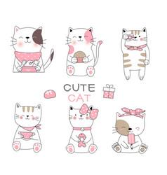 Cute bacat cartoon hand drawn stylefor vector