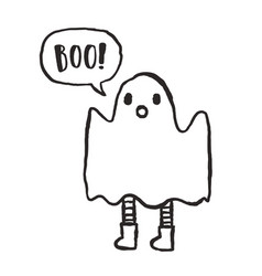 cute hand drawn funny ghost vector image