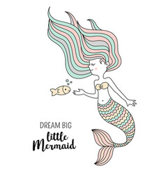 cute little mermaid with fish under the sea vector image