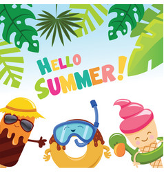 Cute summer card with ice cream character vector