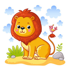 cute young lion is sitting on a sand meadow vector image