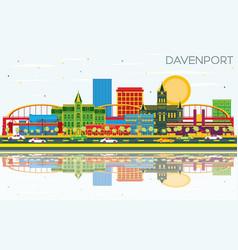 Davenport iowa skyline with color buildings blue vector
