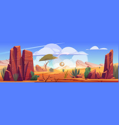 Desert africa natural background with tumbleweed vector