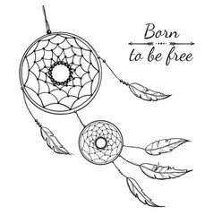 Detailed dreamcatcher with ornament vector