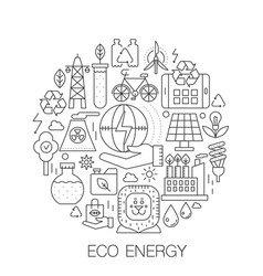 Eco energy in circle - concept line vector