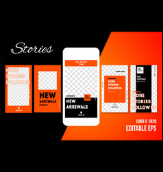 Editable social media stories template vector