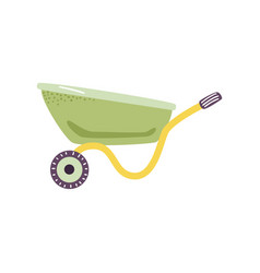 Empty green wheelbarrow cart in flat style - cute vector