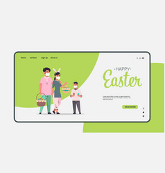 Family holding baskets with eggs celebrating happy vector